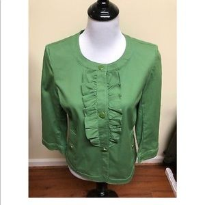 Talbots Green Blazer Button 3/4 Sleeves Light 6